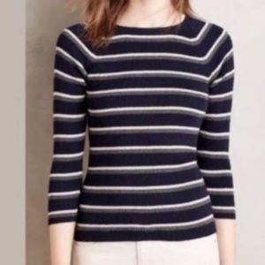 Anthropologie Moth Black Striped Sweater